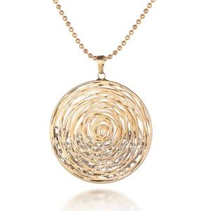 Jewelry - NWT Yellow Gold Rose Hollow CZ Statement Necklace